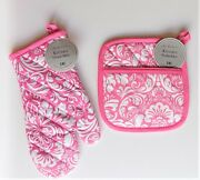 Dii Pink And White Damask Potholder And Oven Mitt Combo Set Free Shipping New