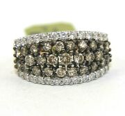 Natural Round Fancy Color Diamond Cluster Wide Ring Band 14k Rose Gold 2.36ct