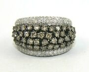 Natural Fancy Color Round Diamond Cluster Wide Ring Band 14k White Gold 3.40ct