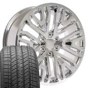 Chrome 22 84040799 Wheels And Tires Set Fit Gmc Chevy Cadillac Cv37