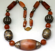 Antique .900 Silver And Natural Carnelian Agate Beads Necklace