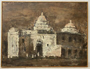 Louie Bassi Siegriest Church In Mexico Oil Painting C.1950s