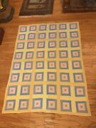 Vintage 1980 Boy Girl Handmade Baby Quilt Yellow Blue Pink Checkerboard 40andrdquox54andrdquo