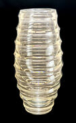 Baccarat Crystal Glass Circumference Vase By Vicente Wolf, Hive Form, Orig. Box