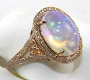 Natural Oval Fire Opal And Diamond Solitaire Ladyand039s Ring 14k Rose Gold 5.61ct