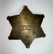 Sheriff Badge Star Reproduction Embossed Pin Old West 3 Brass Badge New