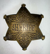 Embossed Scrollwork Sheriff Badge Star Reproduction Pin Old West 3 Brass Badge