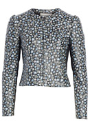 Sz 4 - 1,295 Rebecca Taylor Zelma Black Floral Leather Jacket Xs Nwt Sold Out