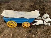 Cast Iron Covered Wagon White Horses And Blue Wagon