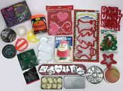 Lot - 78 Assorted Cookie Cutters Most New Vintage Metal Plastic Nesting Holiday