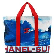 C.2002 Red White Blue Cc Surf Wave Canvas Beach Bag Large Tote