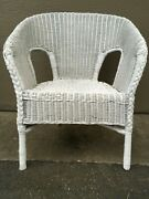 Vintage Antique Natural Real White Wicker Chair Porch Furniture Sturdy Pretty
