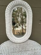 Vintage Antique Natural Real White Wicker Mirror Porch Furniture Exc Cond Oval