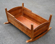 36large Antique Vintage Mahogany Solid Wood Wooden Rocking Cradle Baby Bed Crib