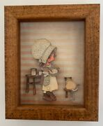 Vintage 3d Small Paper Doll Farmhouse With Cat On Stool 5.5 X 4.5