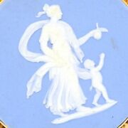 18k Yellow Gold Wedgewood Blue Cameo Greek Goddess Mother And Child Brooch Pin Vtg