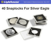 40 Snaplocks 41mm Square 2x2 Capsules Archival Holders For Silver Eagle Dollars