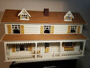 Handmade Wooden Dollhouse 1970s With Furniture