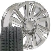 Chrome 22 Wheels And Bridgestone Tires Fit Chevy Gm Cadillac - High Country