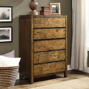 5 Drawer Dresser Chest Solid Wood Rustic Barn Brown Finish Bedroom Furniture