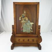 Antique Chinese Table Screen Hardstone Carvings Scholar / Warrior Signed 10.5h