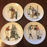 Set Of 4 Norman Rockwell Plates 1979 Gorham Four Seasons Series A Helping Hand