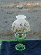 Aladdin Lamp 1934 Green Cathedral 108 W/ Nickel Trim Glass Shade Insect Screen