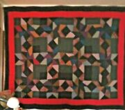 Stars And Blocks In A Frame Wools 1890s Midwest Amish/mennonite