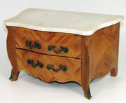 Antique French Apprentice Made Miniature Doll Bombe Chest Dresser W/ Marble Top