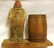 Vintage Wood Carving In The Style Of Trygg Old Man By Barrel Flat Plane Carving