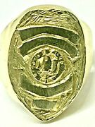Heavy Police Badge Ring Custom Security Guard Shield Ring Solid 14k Yellow Gold