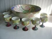 Antique French Limoges Punch Bowl Grapes With 8 Goblets 4 Glasses Signed 1908