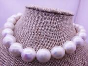Huge 1814-17mm South Sea Genuine White Round Pearl Necklace With A Little Dents