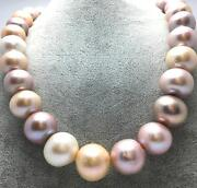 Huge 1812-13mm South Sea Genuine White Gold Pink Purple Round Pearl Necklace