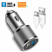 Quick Charge 3.0 Usb Car Charger Dual Port Adapter For Samsung S10+ S20 Note 10