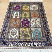 Yilong 3and039x4.5and039 Handmade Silk Area Rugs Blue Four Season Hand Knotted Carpet 0551