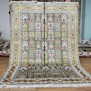 Yilong 5and039x8and039 Garden Scenes Handmade Classic Silk Rug Hand Knotted Carpets 051b
