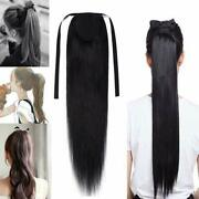 Ladies Silk Straight 100 Wrap Clip In Human Hair Ponytail Hair Extension Thick