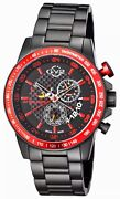 Gv2 By Gevril 9906 Scuderia Black Ip Stainless Steel Tachymeter Watch New Cond