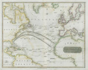 Atlantic Or Western Ocean. Gulf Stream, Nelson's And Trade Routes Thomson 1830 Map