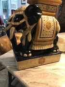 Mid Century Large Ceramic Elephant Statue Plant Stand Side Table Hand Painted
