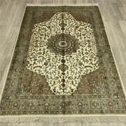 Yilong 4and039x6and039 Great Silk Hand Knotted Carpets Oriental Hand Made Area Rugs 049b
