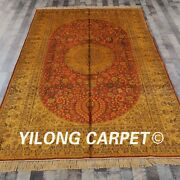 Yilong 6and039x9and039 Antique Golden Silk Carpet Hand Knotted Classic Silk Area Rug G43c