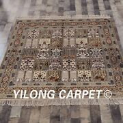 Yilong 5and039x5and039 Square Four Season Handmade Area Rug Hand Knotted Silk Carpet 069m