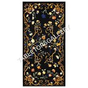 5'x3' Black Marble Dining Table Top Collectible Marquetry Inlay Furniture E607