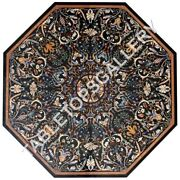 48 Black Octagon Marble Table Top Collectible Marquetry Fine Inlay Decors E618