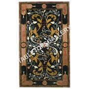 5and039x3and039 Black Marble Dining Table Top Inlay Pietra Dura Home Decor Furniture E614
