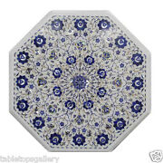 24 White Marble Coffee Table Top Lapis Inlay Mosaic Marquetry Home Decor H368