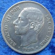 Spain - Silver 5 Pesetas 1885 87 Ms M Km 688 Alfonso Xii 1874-1885 Coin .