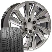 Hyper Black 22 Wheels And 275/55-22 Tires Set Fit Silverado High Country